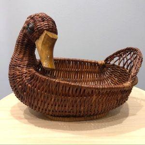 Beautiful Duck Wicker Basket
